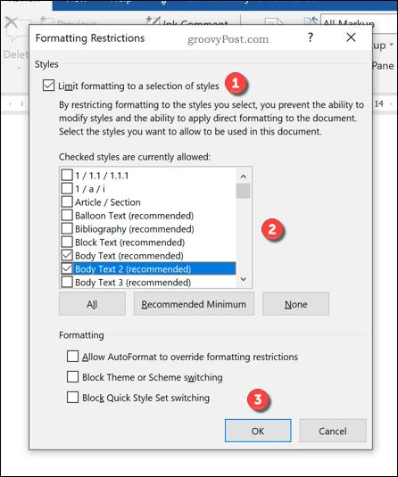Word formatting restrictions options menu