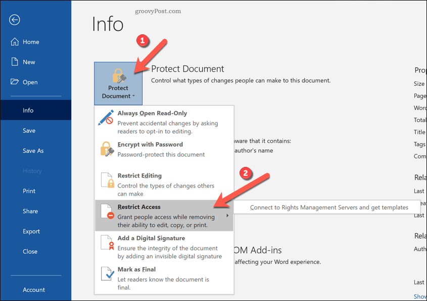Word restrict document access option