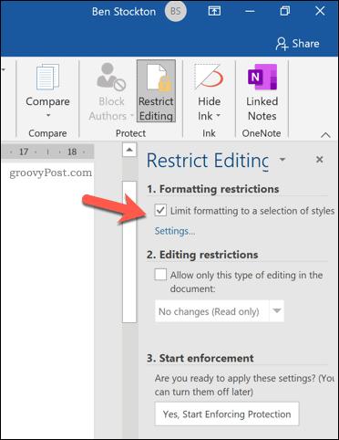 Restrict formatting option in Microsoft Word