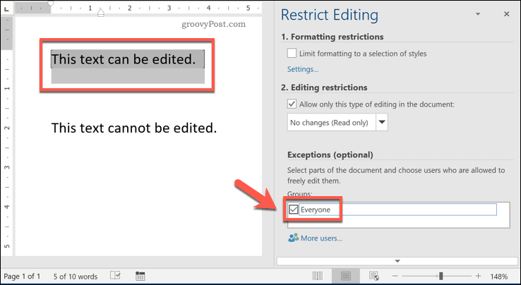 Restricting edit access to text in Word