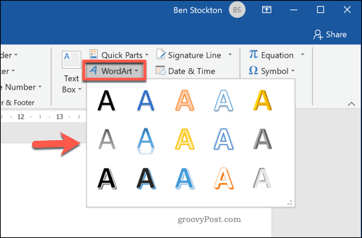 Selecting a WordArt effect in Word