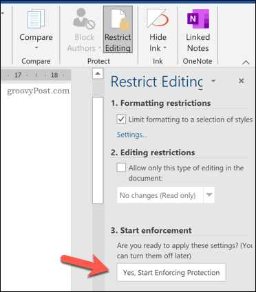 Enable enforcement of document protection in Word