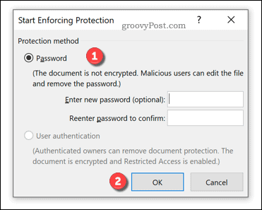 Enforcement options for Word document protection