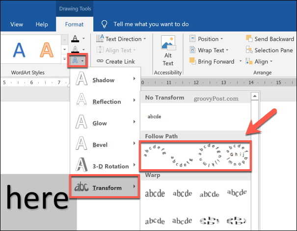 Selecting a curved WordArt style in Word