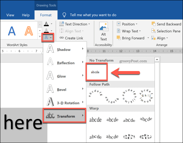 Disabling curved text effects in Word