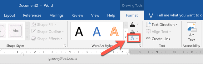 Setting a WordArt Style in Word