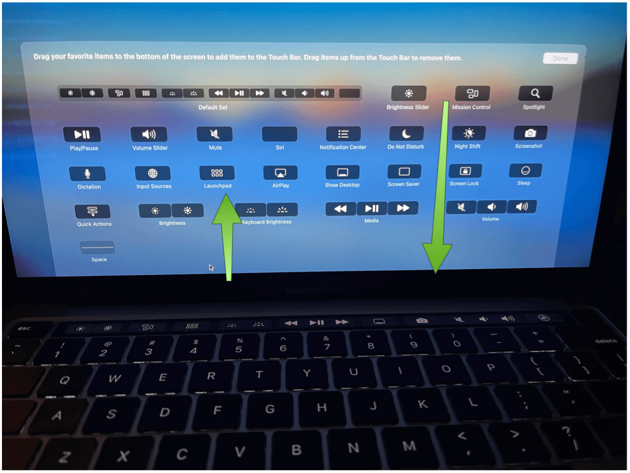 Adjust Touch Bar strip