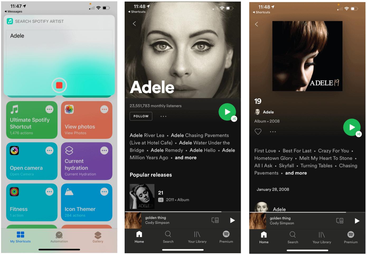 Siri Shortcuts for Spotify Siri search artist