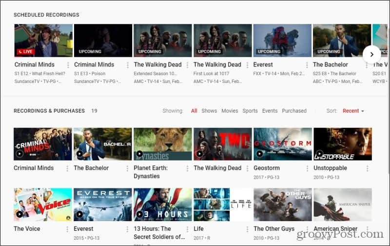 youtube tv library