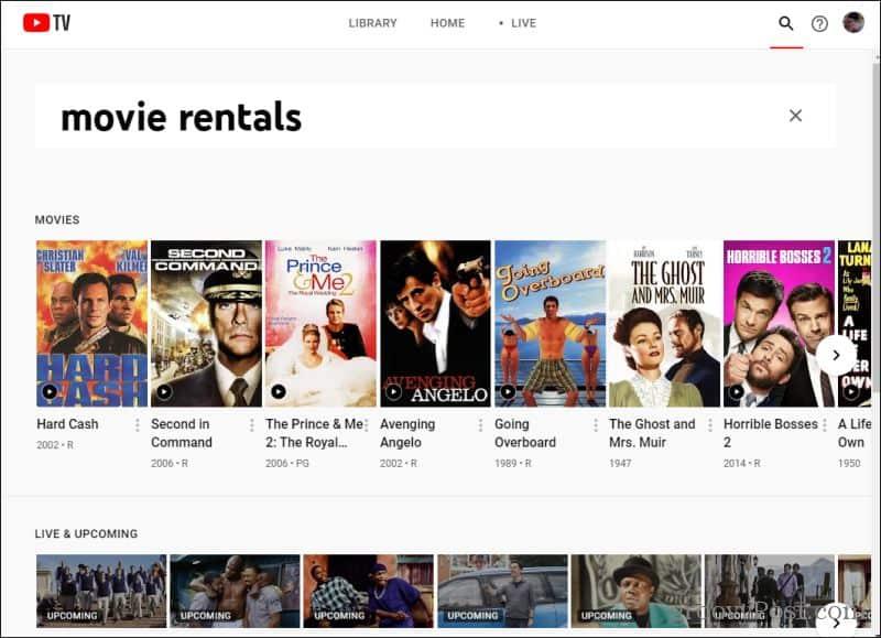 youtube tv rentals