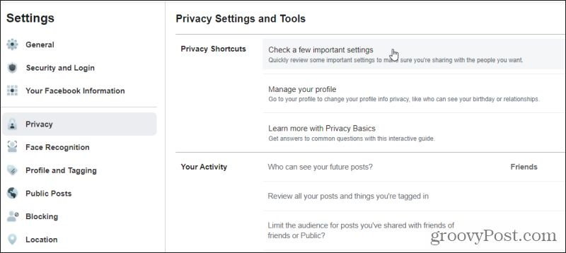 privacy shortcuts
