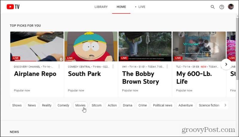youtube tv home