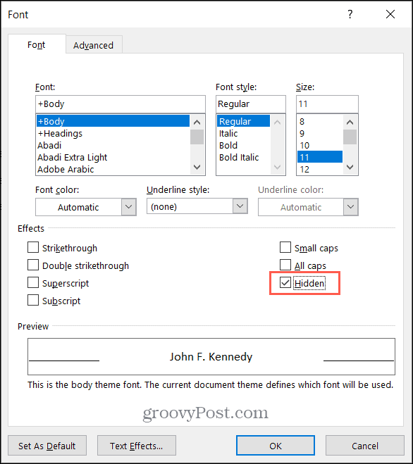 Check the Box for Hidden Text in Microsoft Word on Windows