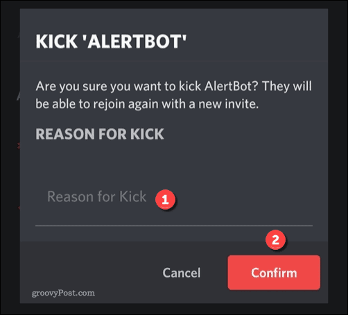 Options for kicking a Discord user on mobile