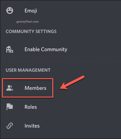 Viewing a Discord server members list on mobile devices