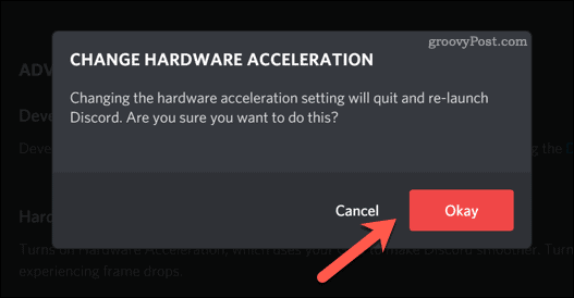 Confirming a change to Discord's hardware acceleration settings