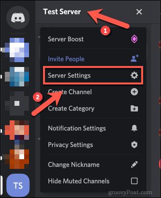 Opening a Discord Server settings menu