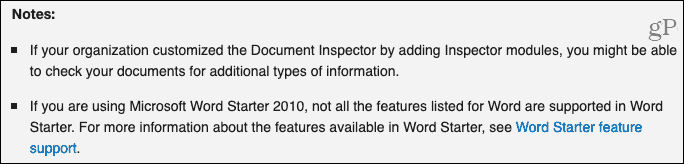 Document Inspector Notes from Microsoft Support
