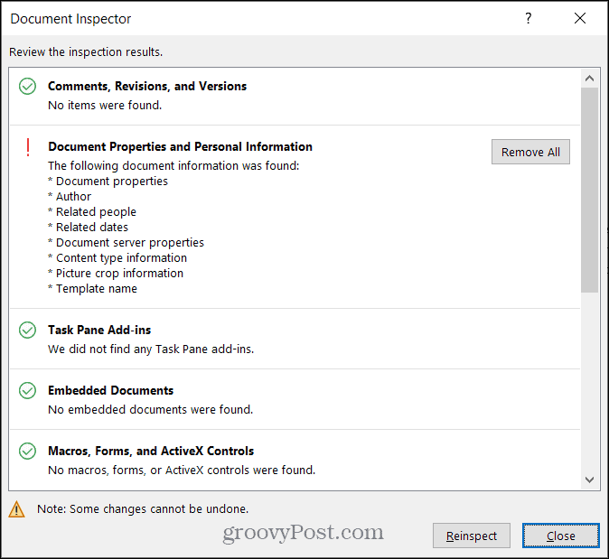 Results for Hidden Data in Word