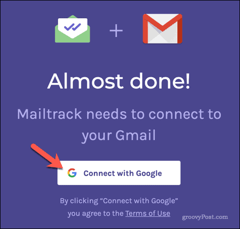 Connecting Mailtrack to Gmail