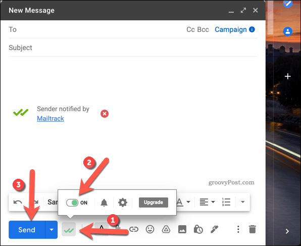 Sending a tracked email using Mailtrack in Gmail