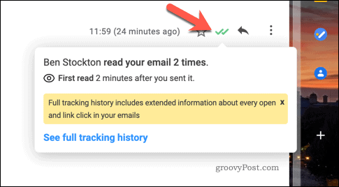 Information about a tracked email in Gmail