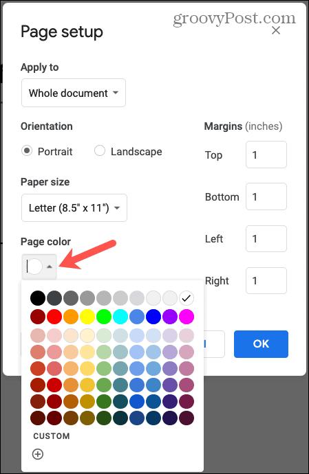 Google Docs Page Color