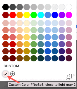 Custom Color on Palette