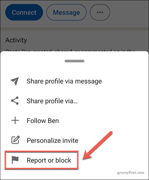 Reporting or blocking a user on LinkedIn