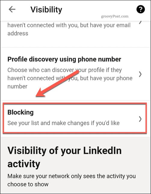 The LinkedIn Blocked user settings menu