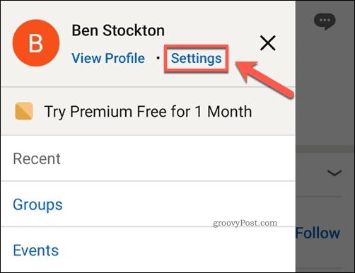 LinkedIn app settings option