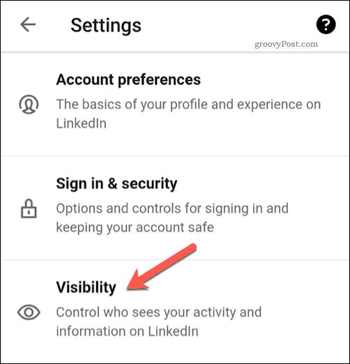 LinkedIn Visibility Settings Option