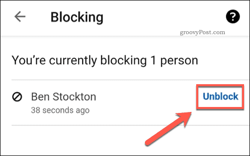 Option to unblock a LinkedIn User
