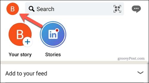 LinkedIn app user profile icon