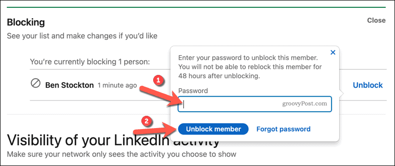 Confirm a user unblocking on LinkedIn