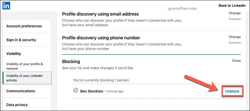 Unblocking a LinkedIn user