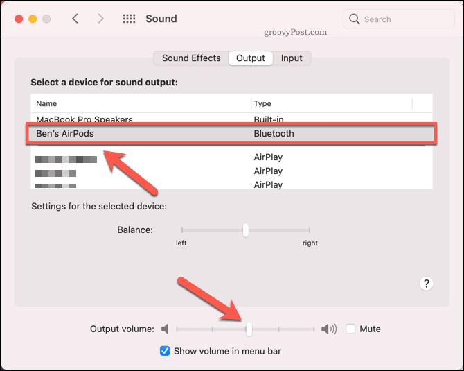 Selecting AirPods as an output device on Mac