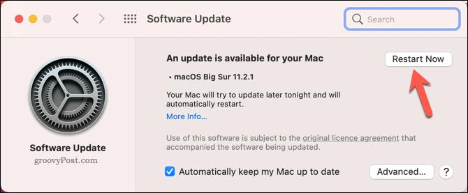 Restarting a Mac to begin a system update