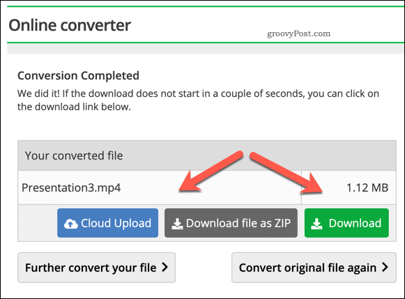 Downloading a converted PPTX to Video file