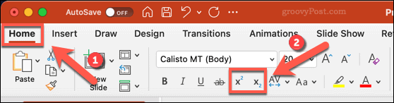 Icons for changing text to subscript or superscript in PowerPoint on Mac
