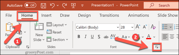 Accessing the Fonts options menu in PowerPoint on Windows