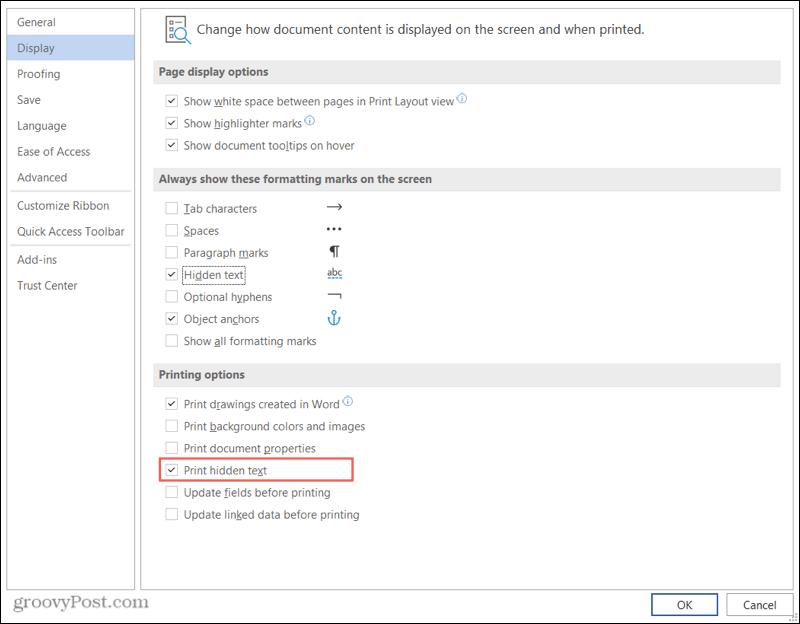 Print Hidden Text in Word on Windows