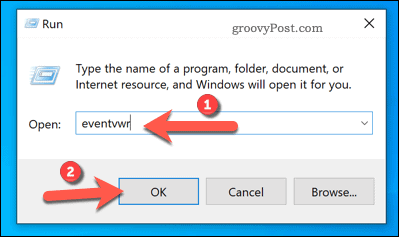 Opening Event Viewer using Run on Windows