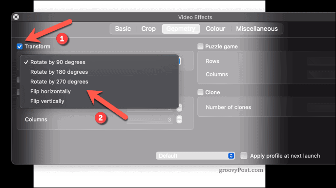 Applying a video rotation effect to VLC on Mac