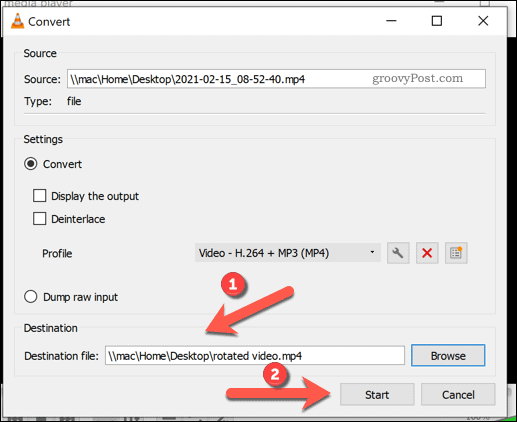 Beginning a file conversion in VLC on Windows