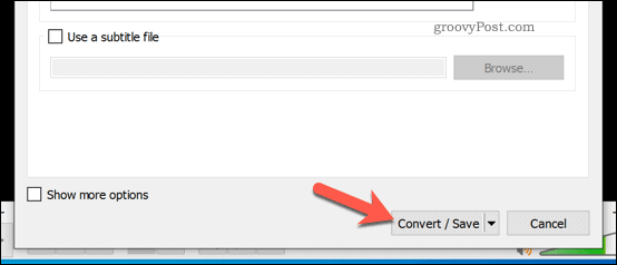 Converting a video file in VLC on Windows