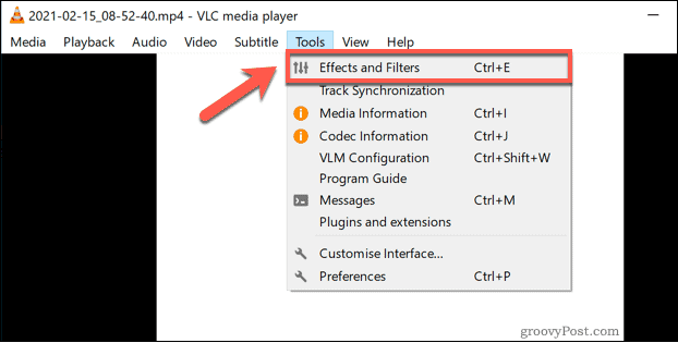 Accessing the VLC Effects and Filters menu on Windows