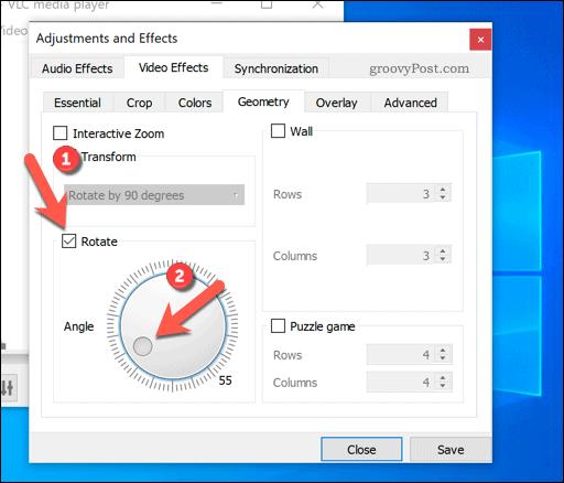 Setting custom video rotation in VLC on Windows