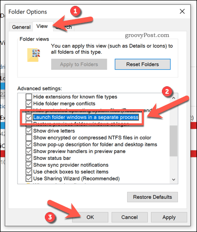 Changing Windows Explorer settings to use individual processes