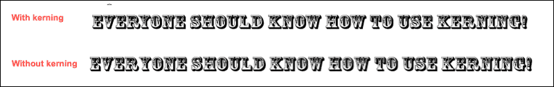 With and Without Kerning in Word
